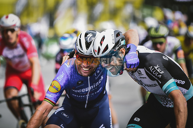 Mark Cavendish (GBR) Deceuninck-Quick Step and Michael Matthews (AUS) Team BikeExchange show some love after crossing the finish line of Stage 4 of the 2021 Tour de France, running 150.4km from Redon to Fougeres, France. 29th June 2021.  <br /> Picture: A.S.O./Pauline Ballet | Cyclefile<br /> <br /> All photos usage must carry mandatory copyright credit (© Cyclefile | A.S.O./Pauline Ballet)