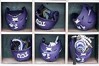 TCU Horned Frogs helmet rack on June 18, 2015 at TD Ameritrade Park in Omaha, Nebraska. (Andrew Woolley/Four Seam Images)