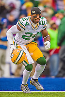 14 December 2014: Green Bay Packers cornerback Jarrett Bush warms up prior to facing the Buffalo Bills at Ralph Wilson Stadium in Orchard Park, NY. The Bills defeated the Packers 21-13, snapping the Packers' 5-game winning streak and keeping the Bills' 2014 playoff hopes alive. Mandatory Credit: Ed Wolfstein Photo *** RAW (NEF) Image File Available ***
