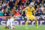Giorgio Chiellini of Juventus (R) fights for the ball with Marco Asensio Willemsen of Real Madrid (L) during the UEFA Champions League 2017-18 quarter-finals (2nd leg) match between Real Madrid and Juventus at Estadio Santiago Bernabeu on 11 April 2018 in Madrid, Spain. Photo by Diego Souto / Power Sport Images