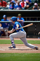 Iowa Cubs second baseman Chesny Young (9) follows through on a swing during a game against the Memphis Redbirds on May 29, 2017 at AutoZone Park in Memphis, Tennessee.  Memphis defeated Iowa 6-5.  (Mike Janes/Four Seam Images)