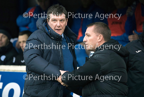 St Johnstone v Celtic…05.02.17     SPFL    McDiarmid Park<br />Tommy Wright and Brendan Rogers before kick off<br />Picture by Graeme Hart.<br />Copyright Perthshire Picture Agency<br />Tel: 01738 623350  Mobile: 07990 594431