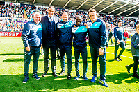 ( L-R ) Swansea City Assistant manager, Nigel Gibbsm Manager of Swansea City, Paul Clement, Swansea Fitness coach, Karl Halabi, Claude Makelele and Tony Roberts, Swansea City Goalkeeping Coach during the players lap of appreciation after the Premier League match between Swansea City and West Bromwich Albion at The Liberty Stadium, Swansea, Wales, UK. Sunday 21 May 2017 (Photo by Athena Pictures/Getty Images)