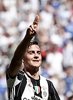 Calcio, Serie A: Juventus vs Crotone. Torino, Juventus Stadium, 21 maggio 2017.<br /> Juventus' Paulo Dybala celebrates after scoring during the Italian Serie A football match between Juventus and Crotone at Turin's Juventus Stadium, 21 May 2017. Juventus defeated Crotone 3-0 to win the sixth consecutive Scudetto.<br /> UPDATE IMAGES PRESS/Isabella Bonotto