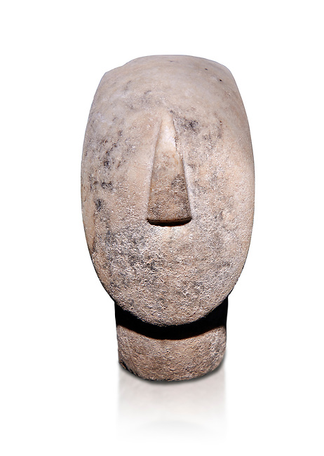 Large Cycladic Canonical type, Spedos variety female figurine head. Early Cycladic Period II from Syros phase , (2800-2300 BC). Museum of Cycladic Art Athens, cat no 284.  Against white.