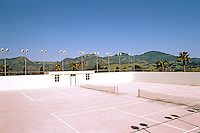 Hearst Castle: Tennis Courts, Roof of indoor pool. Photo '86.