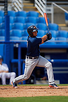 Lakeland Flying Tigers second baseman Anthony Pereira (9) follows through on a swing during a game against the Dunedin Blue Jays on May 27, 2018 at Dunedin Stadium in Dunedin, Florida.  Lakeland defeated Dunedin 2-1.  (Mike Janes/Four Seam Images)