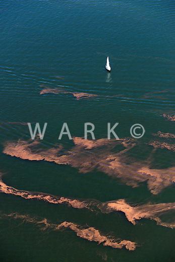 Lake Pueblo sailboat with strange water.  Aug 24, 2013. 81922