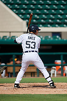 Detroit Tigers Nick Ames (53) at bat during a Florida Instructional League game against the Pittsburgh Pirates on October 6, 2018 at Joker Marchant Stadium in Lakeland, Florida.  (Mike Janes/Four Seam Images)