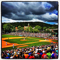 COOPERSTOWN, NY - MAY 24:  Instagram of Pedro Martinez pitching during the Hall of Fame Classic game at Doubleday Field on May 24, 2014 in Cooperstown, New York. Photo by Brad Mangin