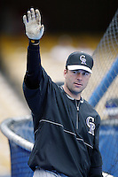 Todd Zeile of the Colorado Rockies before a 2002 MLB season game against the Los Angeles Dodgers at Dodger Stadium, in Los Angeles, California. (Larry Goren/Four Seam Images)