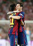 FC Barcelona's Neymar Santos Jr (l) and Leo Messi celebrate goal during Spanish King's Cup Final match. May 30,2015. (ALTERPHOTOS/Acero)