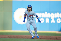 Bo Bichette (13) of the Buffalo Bisons takes his lead off of first base against the Charlotte Knights at BB&T BallPark on July 24, 2019 in Charlotte, North Carolina. The Bisons defeated the Knights 8-4. (Brian Westerholt/Four Seam Images)