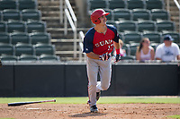 Jake Noll (13) of the Hagerstown Suns hustles down the first base line against the Kannapolis Intimidators at Kannapolis Intimidators Stadium on July 9, 2017 in Kannapolis, North Carolina.  The Intimidators defeated the Suns 3-2 in game one of a double-header.  (Brian Westerholt/Four Seam Images)