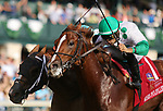 """October 05, 2018 : #1 Promises Fulfilled and jockey Luis Saez win the 166th running of the Stoll Keenon Ogden Phoenix (GR 2) """"Win and You're In Breeders' Cup Sprint Division"""" for trainer Dale Romans and owner Robert Baronat Keeneland Race Course on October 05, 2018 in Lexington, KY.  Candice Chavez/ESW/CSM"""