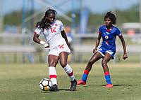 Bradenton, FL - Sunday, June 12, 2018: Teni Akindoju prior to a U-17 Women's Championship 3rd place match between Canada and Haiti at IMG Academy. Canada defeated Haiti 2-1.