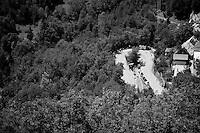 switchback up Alpe d'Huez<br /> <br /> stage 20: Modane Valfréjus - Alpe d'Huez (111km)<br /> 2015 Tour de France