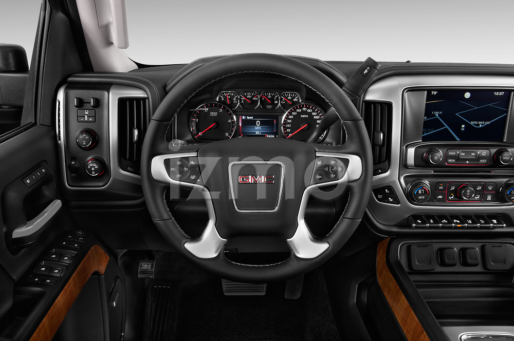Car pictures of steering wheel view of a 2018 GMC Sierra 3500HD 2WD Crew Cab Standard Box SLT 4 Door Pick Up