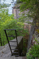 New River Gorge National Park, West Virginia.  Access Ladder for Rock Climbers on Endless Wall Trail.