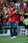 Spain national team player Sergio Ramos celebrates goal during UEFA EURO 2020 Qualifier match between Spain and Sweden at Santiago Bernabeu Stadium in Madrid, Spain. June 10, 2019. (ALTERPHOTOS/A. Perez Meca)