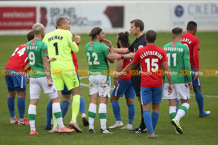 Tempers flare during Dagenham & Redbridge vs Yeovil Town, Vanarama National League Football at the Chigwell Construction Stadium on 17th October 2020