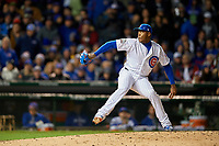 Chicago Cubs pitcher Aroldis Chapman (54) delivers a pitch in the seventh inning during Game 5 of the Major League Baseball World Series against the Cleveland Indians on October 30, 2016 at Wrigley Field in Chicago, Illinois.  (Mike Janes/Four Seam Images)