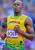 August 05, 2012: Usain Bolt of JAM competes in Men's 100m semifinal at the Olympic Stadium on day nine of 2012 Olympic Games in London, United Kingdom.