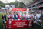 France Team celebrates winning Challenge Trophy as part of the HSBC Hong Kong Rugby Sevens 2018 on 08 April 2018, in Hong Kong, Hong Kong. Photo by Yu Chun Christopher Wong / Power Sport Images