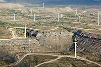 aerial photograph of a wind farm in west Texas