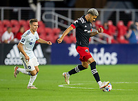 WASHINGTON, DC - MAY 13: Tony Alfaro #93 of D.C. United passes the ball during a game between Chicago Fire FC and D.C. United at Audi FIeld on May 13, 2021 in Washington, DC.