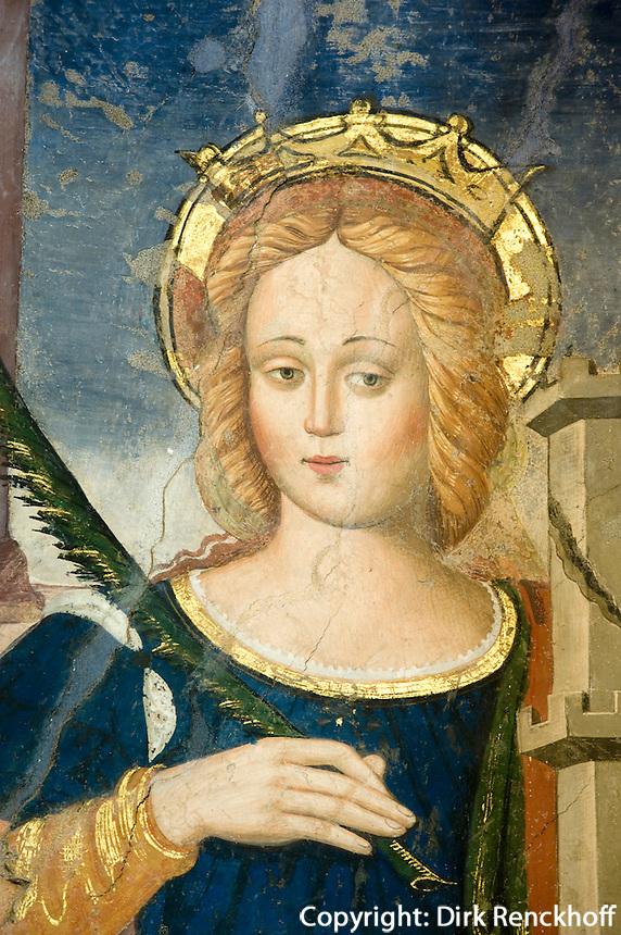 Italien, Umbrien, Fresko in Basilica di San Benedetto in Norcia, heilige Barbara