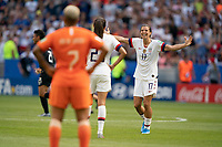 LYON, FRANCE - JULY 07: Tobin Heath celebrates during a game between Netherlands and USWNT at Stade de Lyon on July 07, 2019 in Lyon, France.
