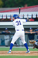 Riley King (31) of the Burlington Royals at bat against the Princeton Rays at Burlington Athletic Park on July 11, 2014 in Burlington, North Carolina.  The Rays defeated the Royals 5-3.  (Brian Westerholt/Four Seam Images)