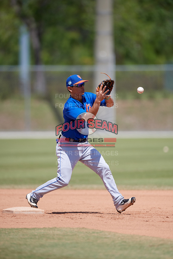 New York Mets Andres Gimenez (3) during practice before a minor league Spring Training game against the Miami Marlins on March 26, 2017 at the Roger Dean Stadium Complex in Jupiter, Florida.  (Mike Janes/Four Seam Images)