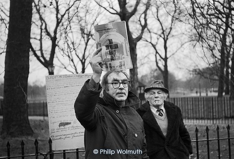 Did Six Million Really Die?  Holocaust denier, Speakers Corner, Hyde Park, London; July 1978.