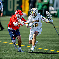 1 May 2021: University of Vermont Catamount Midfielder Clay Weiss, a Freshman from Washington, DC, in action against the Stony Brook University Seawolves at Virtue Field in Burlington, Vermont. The Cats edged out the Seawolves 14-13 with less than one second to play in their America East Men's Lacrosse matchup. Mandatory Credit: Ed Wolfstein Photo *** RAW (NEF) Image File Available ***
