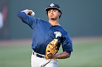 Starting pitcher Harol Gonzalez (45) of the Columbia Fireflies warms up before a game against the Greenville Drive on Thursday, June 15, 2017, at Fluor Field at the West End in Greenville, South Carolina. Columbia won, 7-2. (Tom Priddy/Four Seam Images)