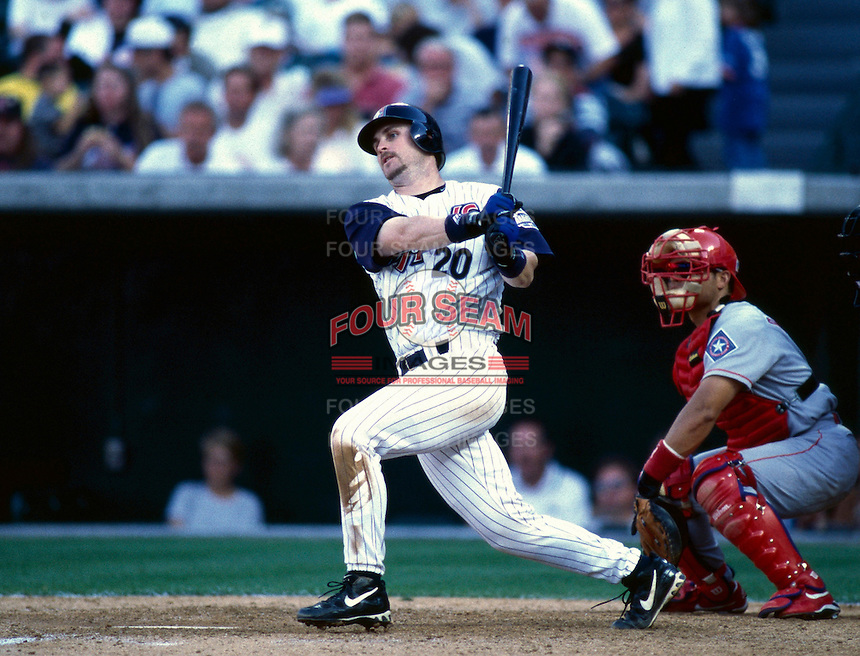 Phil Nevin of the Anaheim Angels plays in a baseball game at Edison International Field during the 1998 season in Anaheim, California. (Larry Goren/Four Seam Images)
