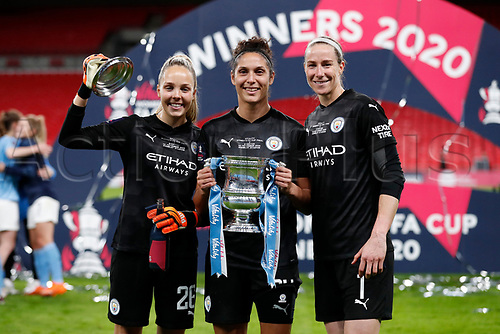 1st November 2020; Wembley Stadium, London, England; Womens FA Cup Final Football, Everton Womens versus Manchester City Womens; Goalkeepers Ellie Roebuck, Karima Benameur Taieb and Karen Bardsley of Manchester City Women pose with the Womens FA Cup Final Trophy