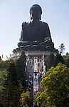People's Republic of China, Hong Kong: Big Buddha statue at the Po Lin Monastery,  near Ngong Ping, on Lantau Island | Volksrepublik China, Hongkong, Lantau Island, bei Ngong Ping: die Big Buddha Statue (Tian Tan Buddha) beim Kloster Po Lin