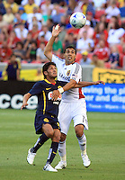 Angel Reyna and Javier Morales in the Club America @ Real Salt Lake 0-1 RSL win at Rio Tinto Stadium in Sandy, Utah on July 11, 2009
