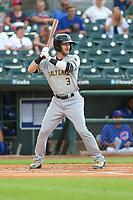 Salt Lake Bees Taylor Ward (3) at bat during a Pacific Coast League game against the Iowa Cubs on August 10, 2019 at Principal Park in Des Moines, Iowa.  Iowa defeated Salt Lake 7-3.  (Travis Berg/Four Seam Images)