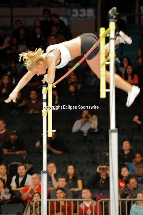 Jillian Schwartz wins the women's pole vault at the first U.S. Open on January 29, 2012 at Madison Square Garden in New York, New York.  (Bob Mayberger/Eclipse Sportswire)