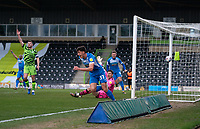 Bobby Thomas (on loan from Burnley) of Barrow celebrates his goal during the Sky Bet League 2 match between Forest Green Rovers and Barrow at The New Lawn, Nailsworth on Tuesday 27th April 2021. (Credit: Prime Media Images I MI News)