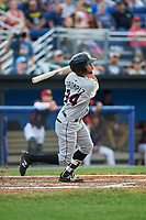 Tri-City ValleyCats second baseman Kristian Trompiz (24) follows through on a swing during a game against the Batavia Muckdogs on July 14, 2017 at Dwyer Stadium in Batavia, New York.  Batavia defeated Tri-City 8-4.  (Mike Janes/Four Seam Images)
