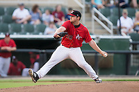 Kannapolis Intimidators starting pitcher Johnathan Frebis (26) in action against the West Virginia Power at Kannapolis Intimidators Stadium on August 20, 2016 in Kannapolis, North Carolina.  The Intimidators defeated the Power 4-0.  (Brian Westerholt/Four Seam Images)