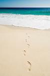 Seychelles, Island Mahe, Anse Intendance: footprints on the beach