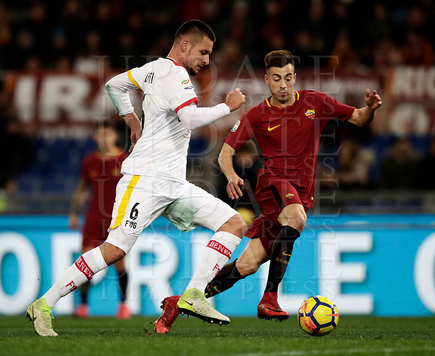 Calcio, Serie A: AS Roma - Benevento, Roma, stadio Olimpico, 11 gennaio 2018.<br /> Roma's Stephan El Shaarawy (r) in action with Benevento's Berat Djimisti (l) during the Italian Serie A football match between AS Roma and Benevento at Rome's Olympic stadium, February 11, 2018.<br /> UPDATE IMAGES PRESS/Isabella Bonotto