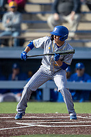 San Jose State Spartans outfielder Connor Konishi (25) squares to bunt against the Michigan Wolverines on March 27, 2019 in Game 1 of the NCAA baseball doubleheader at Ray Fisher Stadium in Ann Arbor, Michigan. Michigan defeated San Jose State 1-0. (Andrew Woolley/Four Seam Images)