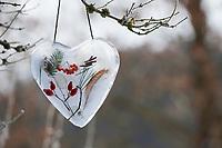 Eisherz, Eis-Herz, Herz aus Eis mit eingeschlossenen Naturmaterialien wie Hagebutten, Zweigen, Feder, Vogelbeeren, Silberblatt, Bastelei, Wasser wird in eine Kuchenform gegossen, die NAturmaterialien eingelegt und das ganze in der Tiefkühltruhe eingefroren